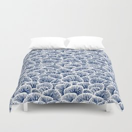 Mushroom Pattern - Dark Blue Duvet Cover