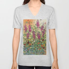 Fireweed in Melon Unisex V-Neck