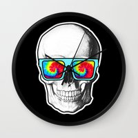 psychadelic Wall Clocks featuring Psychadelic Skull Tiedye glasses by Chara Chara