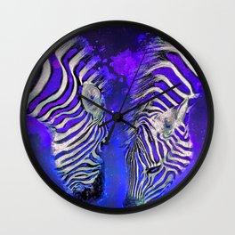 Night Sky Zebra Ultra Violet Wall Clock