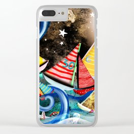 Night Sailing - Aurora Art Moonlight Stars Night Clear iPhone Case