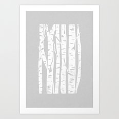 Woodcut Birches Grey Art Print