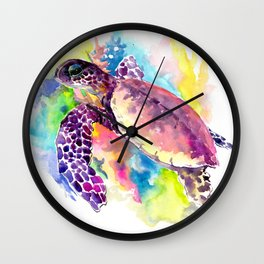 Sea Turtle in Coral Reef, tropical colors sea world purple yellow blue turtle art, turtle illustrati Wall Clock