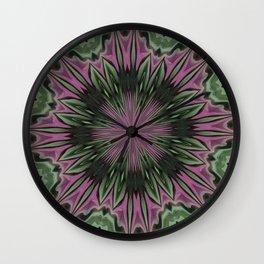 Rose and Jade Floral Fantasy Mandala Pattern Wall Clock