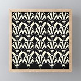 Art Deco Fans 1.3 Black Background Silver & Cream Framed Mini Art Print