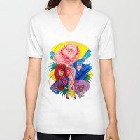 jem V-neck T-shirts featuring Jem and the Holograms by Megan Mars