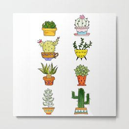 Succulents and Cacti Potted Plants Metal Print