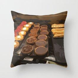 Tarts and eclairs Throw Pillow