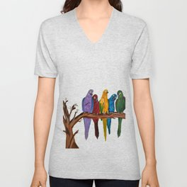 A colourful, vibrant oil painting of parrots sitting on a branch chit chatting by Abha Unisex V-Neck