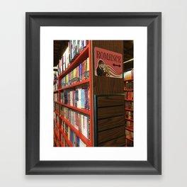 Romance aisle in a book shop Framed Art Print