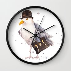 Seagull, seagull watercolor, office humor, funny animals, birds in hats Wall Clock