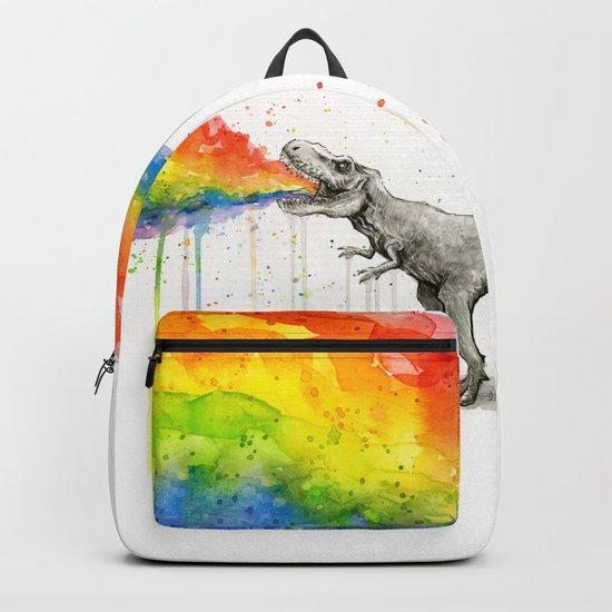 T-Rex Dinosaur Rainbow Puke Taste the Rainbow Watercolor by olechka