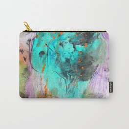 Hand painted teal orange black watercolor Carry-All Pouch