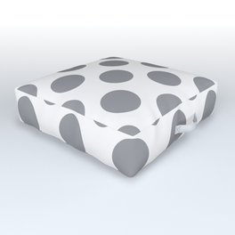 Grey Large Polka Dots Pattern Outdoor Floor Cushion