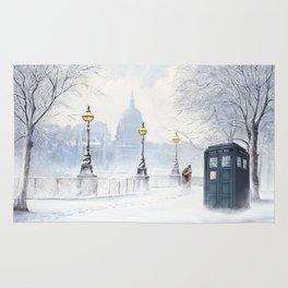Tardis Snow Romantic Rug