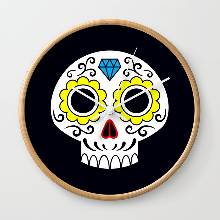 Sugar skull for a cake Wall Clock