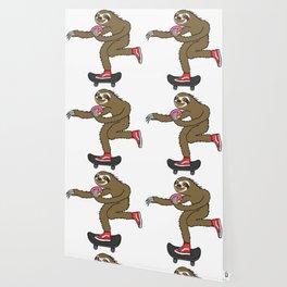 Skater Sloth loves donut Wallpaper