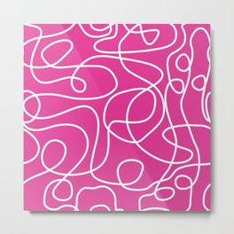 Doodle Line Art | White Lines on Hot Pink Metal Print