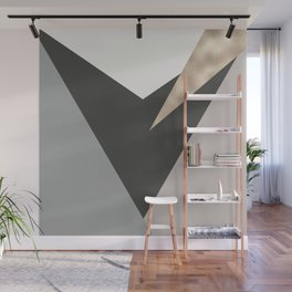Abstract geometrical faux gold black gray triangles pattern Wall Mural