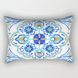 Hand Painted Moroccan Tiles - Aqua and Gold Rectangular Pillow