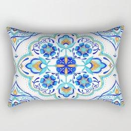 Hand Painted Moroccan Tiles - Aqua and Gold Rectangular Pillow