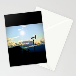 Mountain top sunset photo with weather vane Stationery Cards