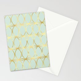 Modern Pastel Green Background with Golden Yellow Circle Lattice Stationery Cards