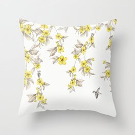 Birds and Cherry blossoms II Throw Pillow