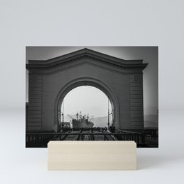 ship in the arch - docked Mini Art Print