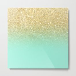 Modern gold ombre mint green block Metal Print