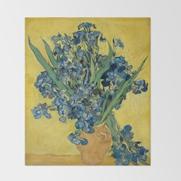 Still Life: Vase with Irises Against a Yellow Background Throw Blanket