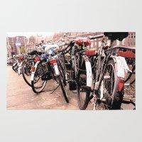 bikes Area & Throw Rugs featuring Amsterdam Bikes by Ann Yoo