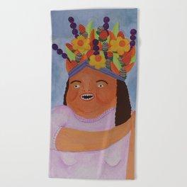 Fruit Basket Woman Beach Towel