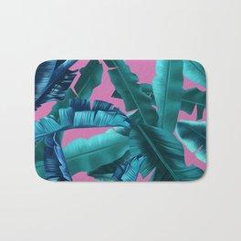 tropical banana leaves pattern pink Bath Mat