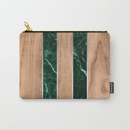 Striped Wood Grain Design - Green Granite #901 Carry-All Pouch