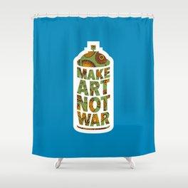 Make Art Not War (African pattern blue) Shower Curtain