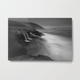 seascape long exposure at Faroe Islands - black and white Photography Metal Print