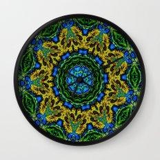 Lovely Healing Mandalas in Brilliant Colors: Hunter Green, Green, Navy, Light Blue, and Goldenrod Wall Clock