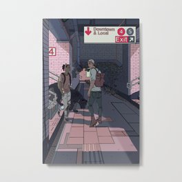 Subway Station Meetup Metal Print
