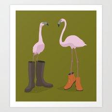 Fashion Flamingos Art Print