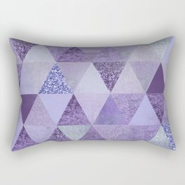 Glamorous Purple Faux Glitter And Foil Triangles Rectangular Pillow
