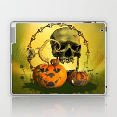 Halloween, funny pumpkins and skull Laptop & iPad Skin