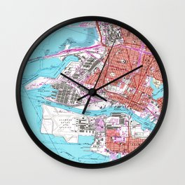 Vintage Map of Oakland California (1959) Wall Clock