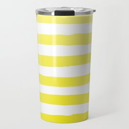 Sun Yellow Handdrawn horizontal Beach Stripes - Mix and Match with Simplicity of Life Travel Mug