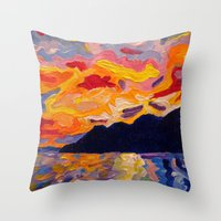 west coast Throw Pillows featuring West Coast Sunset  by Morgan Ralston