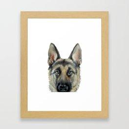 Shepard Dog illustration original painting print Framed Art Print