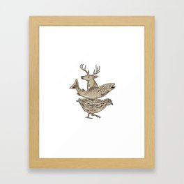 Deer Trout Quail Drawing Framed Art Print