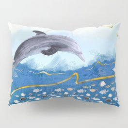 Dolphins Hunting Fish - Surreal Seascape Pillow Sham