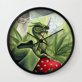 Smoking Dragon in Cannabis Leaves Wall Clock