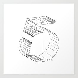 """"""" Numbers Collection """" - Number Five 3D Art Print"""